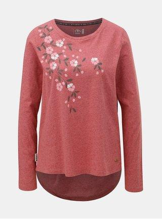 Červené dámske melírované tričko s prímesou ľanu Maloja Barnaba