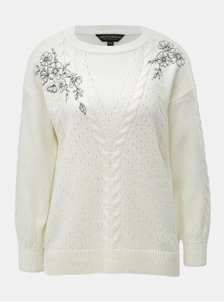 Krémový svetr s výšivkou květin Dorothy Perkins