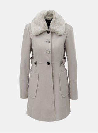 Světle šedý kabát s odnímatelným límcem z umělé kožešiny Dorothy Perkins