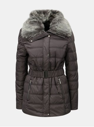Sivá prešívaná zimná bunda s umelou kožušinkou Dorothy Perkins Tall