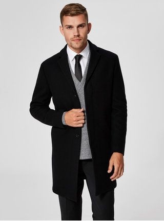Čierny vlnený kabát Selected Homme