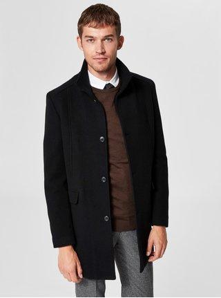 Černý vlněný kabát Selected Homme Mosto