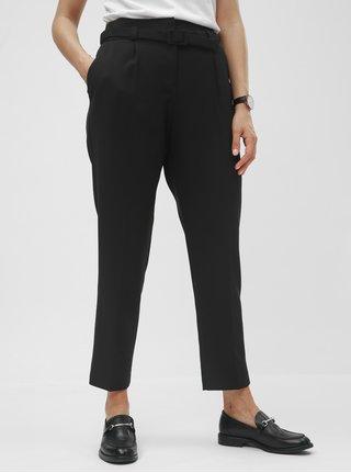 Pantaloni negri cu talie inalta si cordon Dorothy Perkins
