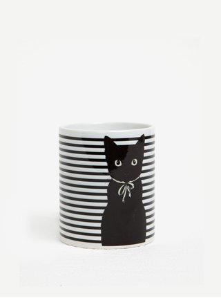 Bílo-černý pruhovaný hrnek s motivem kočky Butter Kings