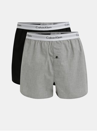 Sada dvou slim fit trenýrek v šedé a černé barvě Calvin Klein Underwear