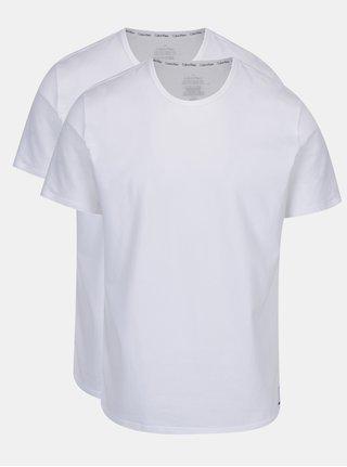 Súprava dvoch pánskych bielych slim fit basic tričiek pod košeľu Calvin Klein Underwear