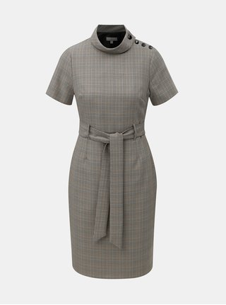 Šedé kostkované pouzdrové šaty se stojáčkem a páskem Dorothy Perkins Petite