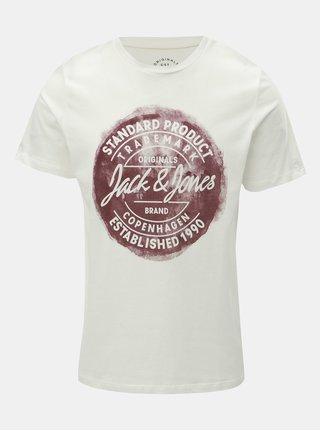 Biele tričko s potlačou Jack & Jones Rejistood