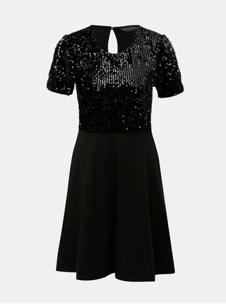 Čierne šaty s flitrami a prestrihom Dorothy Perkins