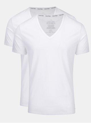 Sada dvou triček pod košili v bílé barvě Calvin Klein Underwear