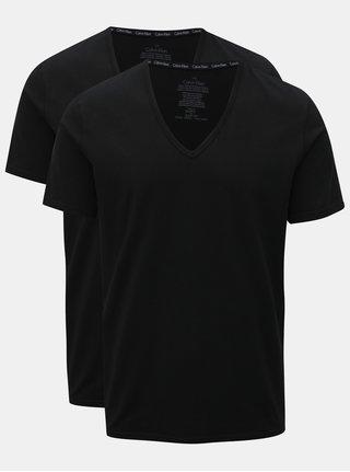 Súprava dvoch pánskych čiernych slim fit basic tričiek pod košeľu Calvin Klein Underwear