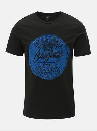 Černé tričko s potiskem Jack & Jones Rejistood