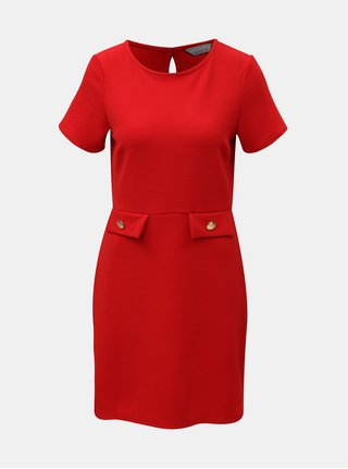 Červené šaty s detaily ve zlaté barvě Dorothy Perkins Petite