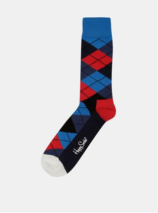 Sosete rosii cu albastru in carouri  Happy Socks pentru barbati