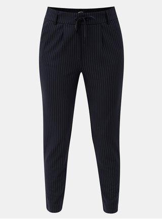 Tmavě modré pruhované zkrácené kalhoty s vysokým pasem ONLY Poptrash