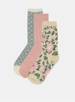 Sada tří párů ponožek s příměsí angorské vlny v šedé, růžové a béžové barvě Something Special