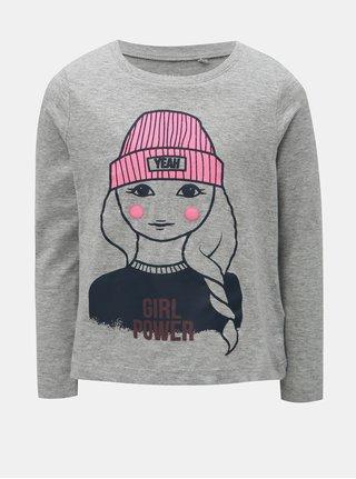 Sivé melírované dievčenské tričko s potlačou Name it