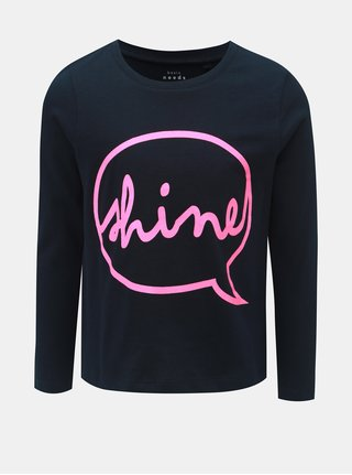 Tmavomodré dievčenské tričko s nápisom Name it