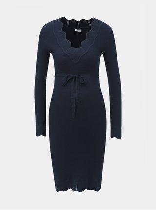 Tmavomodré tehotenské svetrové šaty Mama.licious Eva
