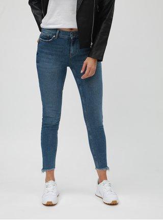 Modré zkrácené slim džíny s potrhaným efektem VERO MODA Seven