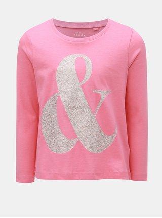 Ružové dievčenské tričko s trblietavou potlačou Name it