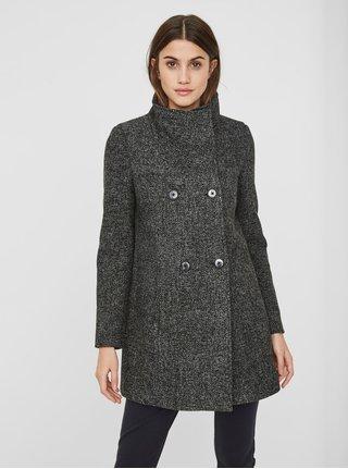 Tmavě šedý žíhaný kabát s límcem a s příměsí vlny VERO MODA Line