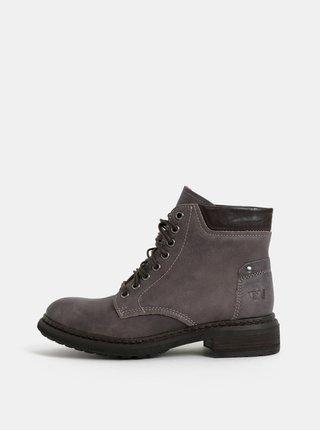 8345aa04ae7df Sivé dámske kožené členkové topánky Weinbrenner