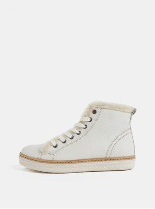 Pantofi sport inalti albi de dama din piele cu blana artificiala interioara Weinbrenner