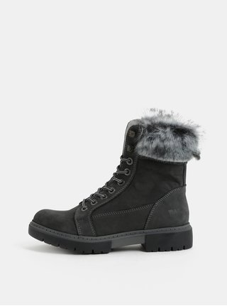 Sivé dámske zimné kožené členkové topánky s kožušinkou Weinbrenner