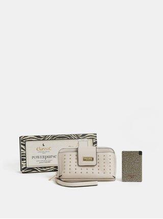 Krémová peňaženka s powerbankou 2000 mAh v darčekovom balení Something Special