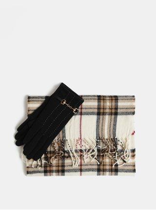 Sada šály a vlněných rukavic v černé a krémové barvě v dárkovém balení  Something Special