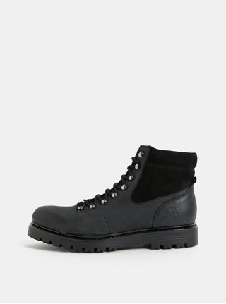 Čierno–sivé dámske kožené členkové zimné topánky so semišovými detailmi Weinbrenner