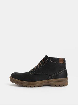 Černé pánské kožené kotníkové zimní boty Weinbrenner