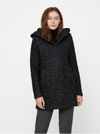 Čierny melírovaný kabát s prímesou vlny VERO MODA Verodona