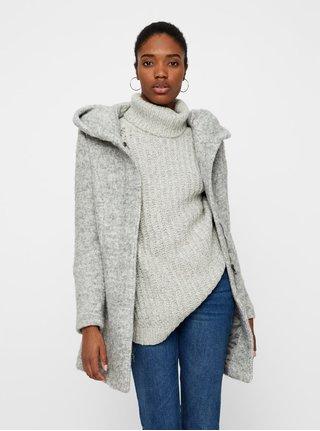 Sivý melírovaný kabát s prímesou vlny VERO MODA Verodona