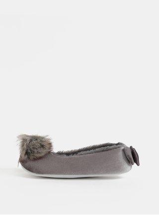 Sivé papuče s brmbolcom a mašľou v darčekovom balení Something Special