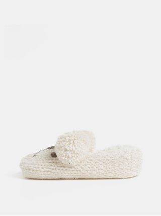 Set cadou de papuci crem impletit in forma de soarece Something Special
