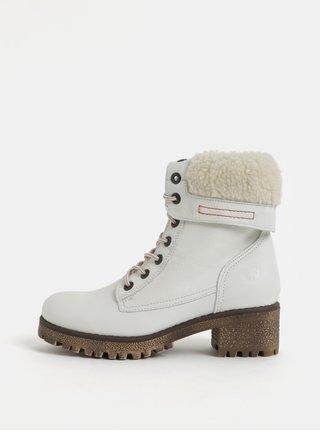 Bílé dámské kožené kotníkové zimní boty na podpatku Weinbrenner 434af7aca7