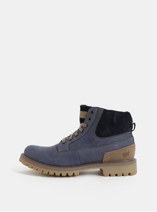 Modré pánské kožené kotníkové zimní boty se semišovými detaily Weinbrenner