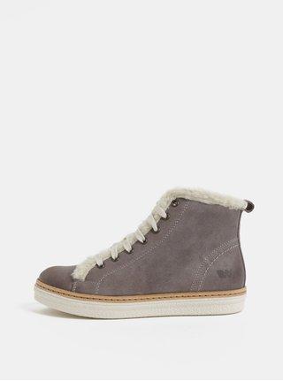Pantofi sport inalti gri de dama din piele intoarsa cu blana artificiala interioara Weinbrenner