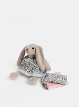 Růžovo-béžový plyšový králík s dečkou a polštářem v dárkovém balení Something Special