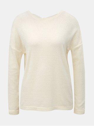 Krémový tenký sveter s mašľou za krkom ONLY Star