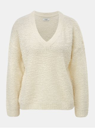Krémový svetr s véčkovým výstřihem Jacqueline de Yong Knit