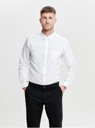 Bílá slim košile s náprsní kapsou ONLY & SONS Alvaro