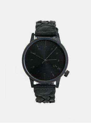 Pánske hodinky s čierným koženým remienkom Komono Harlow