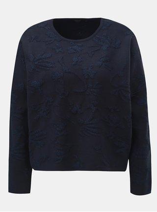 Tmavomodrý oversize sveter s metalickým vláknom ONLY Molise