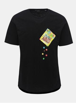 Černé tričko s krátkým rukávem a kapsou ONLY & SONS Harold Printed
