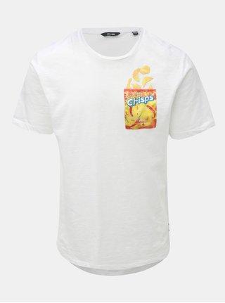 Bílé tričko s krátkým rukávem a kapsou ONLY & SONS Harold Printed