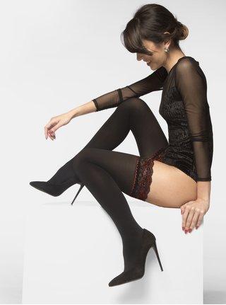 Černé samodržící punčochy s krajkovým lemem Andrea Bucci Opaque Lace Top 50 DEN
