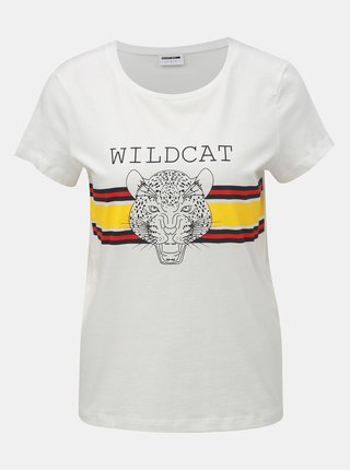 Krémové tričko s potiskem leoparda Noisy May Nate